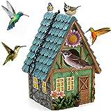 Caseta de pájaros para exterior casa de pájaros natural, nido suspendido para las manzanas azules, colibris, menino y otras aves salvajes, decoración de interior y de jardín, agujero de 40 mm