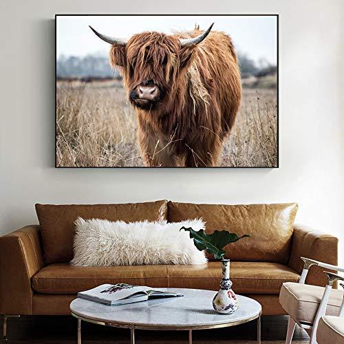 sanzangtang Highland Cattle Wandkunst Leinwanddruck realistische Tier Leinwand Malerei Poster an der Wand Bild für Wohnzimmer Dekoration rahmenlose 30x45cm