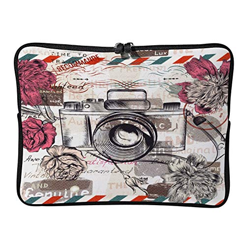 Laptop Sleeve Bag Notebook Computer PC Neoprene Protection Zipper Case Cover Vintage Retro Camera and Flowers White-color9 10inch