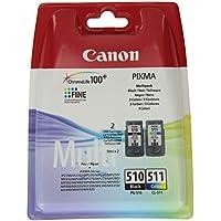 Canon PG-510+CL-511 Cartuchos de tinta BK+Tricolor para Impresora de Inyeccion de tinta Pixma MX320,330,340,350,360,410,420-MP230,240,250,252,260,270,272,280,282,480,490,492,495,499-IP2700,2702