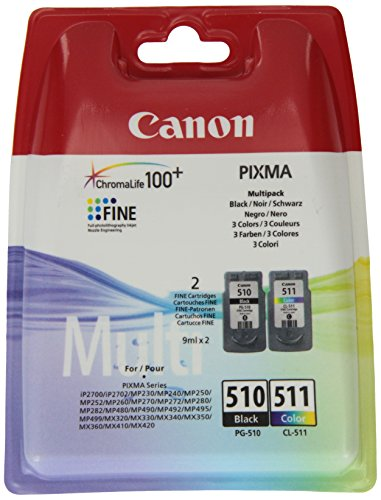 Canon PG-510/CL-511 Cartuccia Originale Getto d'Inchiostro Multipack 9 ml, Nero / Multicolor