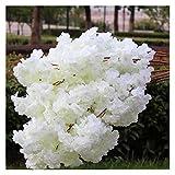 JSJJRGB Künstliche Blumen 18 stücke Künstliche Blütenzweig Gefälschte Blume Stamm Weitere Blume Farben für Hochzeit Sakura Tree Dekoration (Color : White)