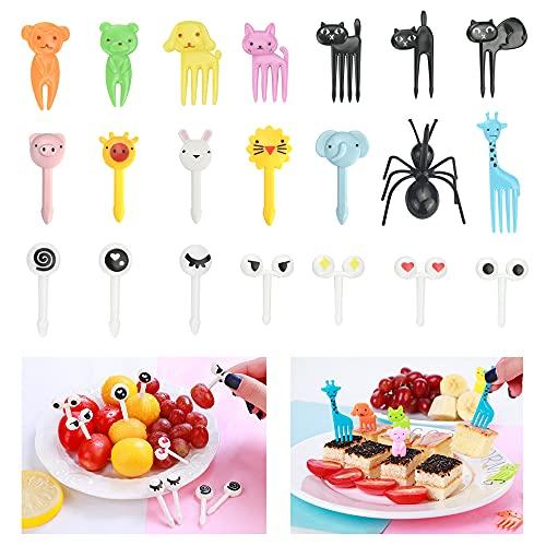 DURANTEY 58 PCS Tenedor para Fruta Mini Tenedores de Plastico en Forma de Animales Lindos Palillos Fruta para Niños de Colores Tenedores Reutilizables para Frutas Postre Fiesta Decoración de Bento