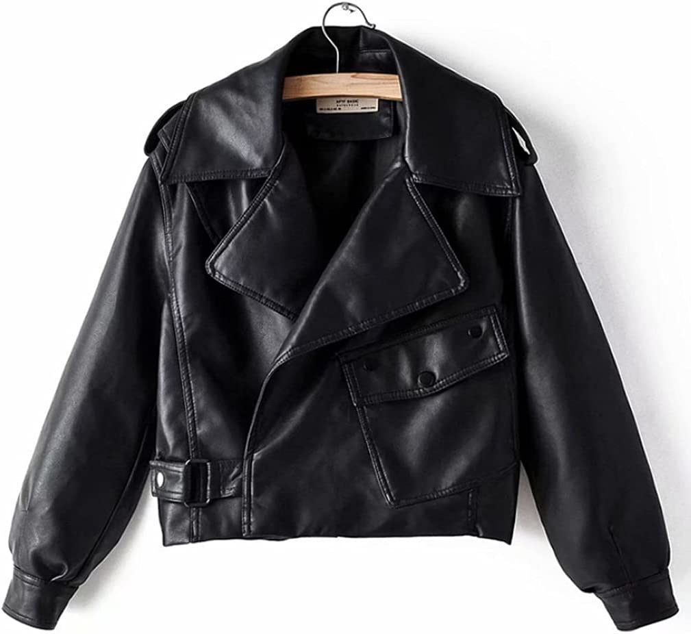 HLMSKD Spring Fashion Retro Lapel Long Sleeve Short PU Leather Washed Solid Color Leather Jacket (Color : Black, Size : Lcode)
