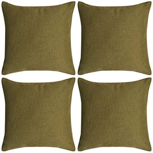 Ghuanton kussenslopen, 4 stuks. Linnen look groen 80x80 cm huis & tuin decoratie sierkussen