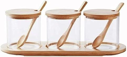 SPNEC Creative Transparent Glass Kitchen Spice Jar Three Piece Seasoning Storage Tank Seasoning Bottles Dispensing Bottle ...