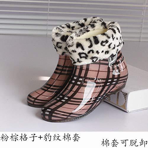 Regenstiefel,Pulver Brown Plaid Hinzufügen Baumwolle Ankle Boots Regen Stiefel Weiblichen Erwachsenen Niedrig Zylinder Slip Dicke Unten Europa Und Amerika Frühling Sommer Herbst Winter Fashion Cute