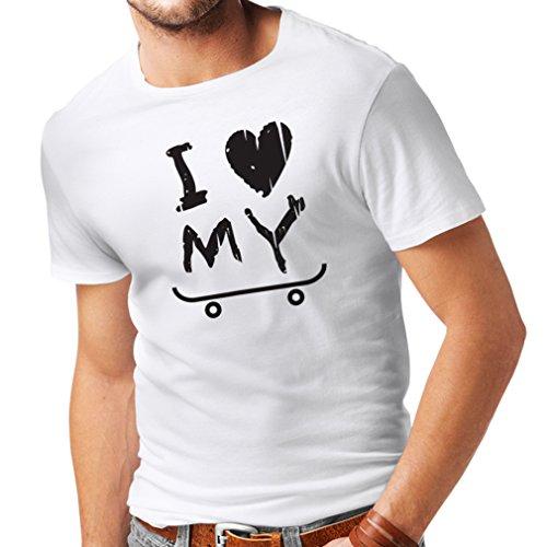 Männer T-Shirt Ich Liebe Meine Skate! Unisex T-Shirt (Large Weiß Schwarz)