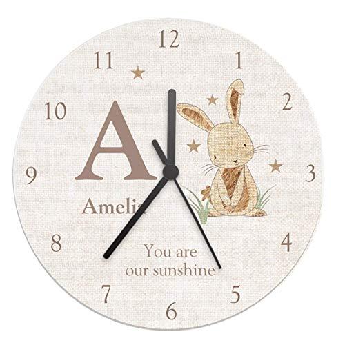 Personalisierbare Baby-Uhr aus Sackleinen im Shabby-Chic-Stil, Holz-Uhr für Kinderzimmer, Raumdekoration, perfektes Namenstag, Taufgeschenk für Mädchen, Jungen, Neugeborene und Kinder