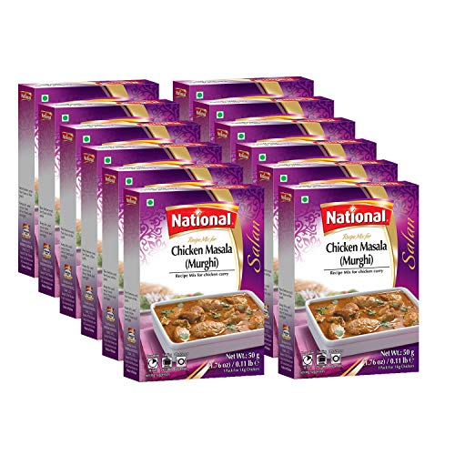 National Foods Chicken Masala (Murghi) Recipe Mix 1.76 Oz (50g)   Traditional Spice Powder   Essential South Asian Dish   Curry Seasoning   Box Pack (Pack of 12)
