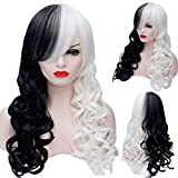 Anogol 32' 80cm Half Black and White Wig Long Wavy Women's Costume Wigs Lolita Cosplay Wig For Halloween Party