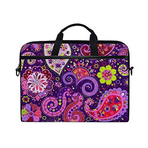 Ahomy 14 Inch Laptop Bag, Vintage Paisley Floral Purple Hippie Canvas Fabric Laptop Case Bussiness Handbag With Shoulder Strap for Women and Men