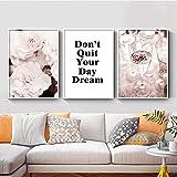 Lienzo Arte de la pared Flor de peonía rosa Suculentas Citas de amor Pintura nórdica Carteles impresos para la decoración de la sala de estar Cuadros de la pared 60x90cmx3pcs Sin marco