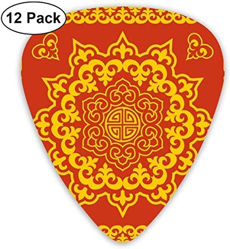Gitarren-Plektren - 12er Pack, orientalisches, rundes und quadratisches, spitzes, traditionelles mongolisches Symbol für E-Bass-Akustikgitarre