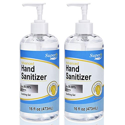 Superfy Hand Sanitizer Gel with Pump, 2 Pack of 16 oz, Press Hand Washer with 70% Alcohol Quick-drying (32oz total)