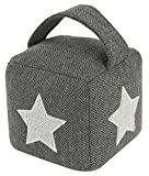 FiNeWaY Fabric Cube Door Stop - Decorative Doorstop Stopper with Handle – Ideal for Home Bedroom Kids Play Living Room Office with Handle (Grey - Star Print)