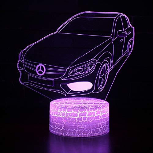 Nachtlicht Nachttischlampe Mercedes-Benz Car Styling Usb-Plug-In Bunte Farbe LED-Leuchten Geschenk Dekoration 165X170X4mm, Touch + Fernbedienung