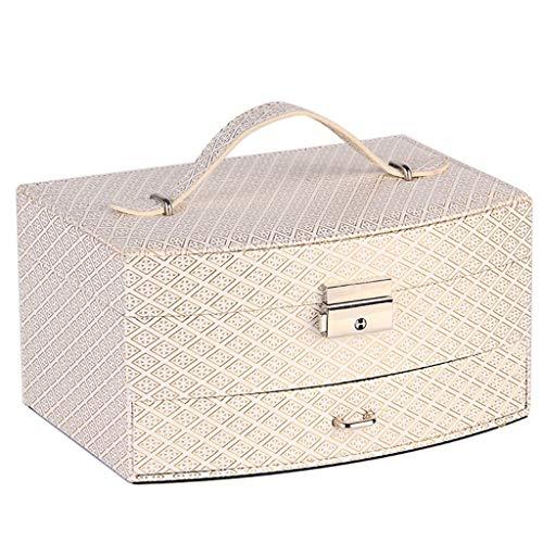 Candtong Caja de Almacenamiento de Joyas de Cuero para Damas Maleta de Maquillaje portátil con Cerradura con Espejo Caja de Almacenamiento de cosméticos de múltiples Funciones