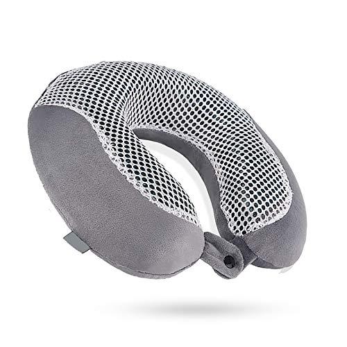 BANGSUN 1pc almohada de viaje de algodón memoria cuello en forma de U hidrogel bambú carbón material gris