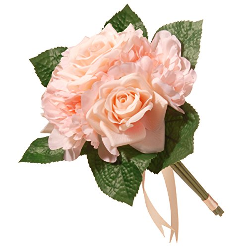 """National Tree 12.2"""" Mixed Peach Rose & Peony Bouquet"""