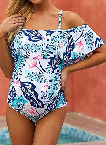 MedusaABCZeus Badeanzug Damen Sport Arena,Schwangeres Mutterkleid, einteiliger Badeanzug gestreifter Badeanzug-Blue_XXL,Bikini Hose