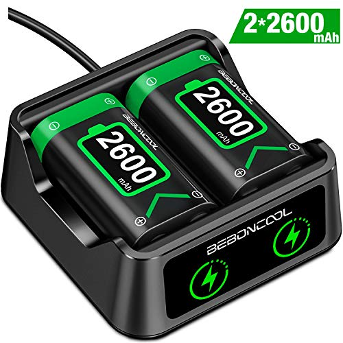 Controller Battery Pack for Xbox One, BEBONCOOL Battery Pack Rechargeable with Charger for Xbox One, 2x2600 mAh Battery Pack Work for Xbox One/Xbox One S/Xbox One X/Xbox One Elite Controller