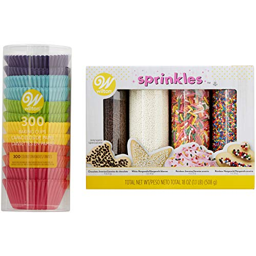 Rainbow Cupcake Liners and Sprinkles Set, 5-Piece