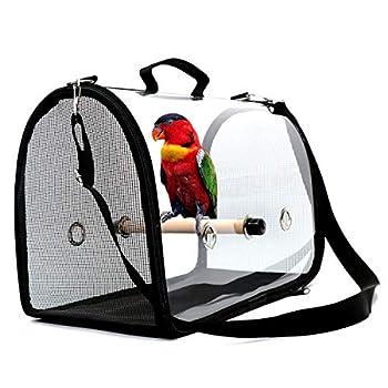 NCONCO Sac de transport pour oiseaux Transparent Léger Respirant Cage de transport avec perche pour petits oiseaux
