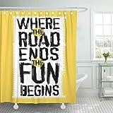COFEIYISI Duschvorhänge Off Road Quote Lettering Wörter aus einzigartigen Buchstaben nützliche Grafik in gelb schwarz & weiß Wasserdicht Bad Vorhang Polyester Stoff mit 12 Haken 180x180 cm