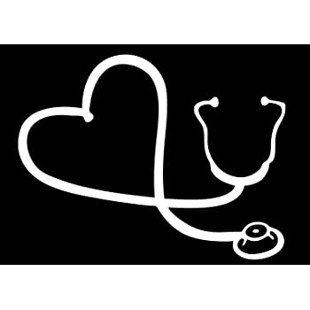 White Heart Stethoscope Car Window Decal 6 White Decal Dude