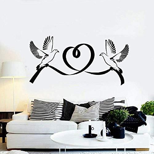 57X113 Cm Aplique De Pared De Vinilo Paloma Pájaro Matrimonio Amor Romántico Pareja Dormitorio Sala De Estar Pegatinas De Pared Jardín De Infantes Iglesia Arte Mural