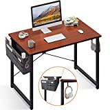 Computer Writing Desk 39 inch, Sturdy Home Office Table, Work Desk with A Storage Bag and Headphone Hook, Teak