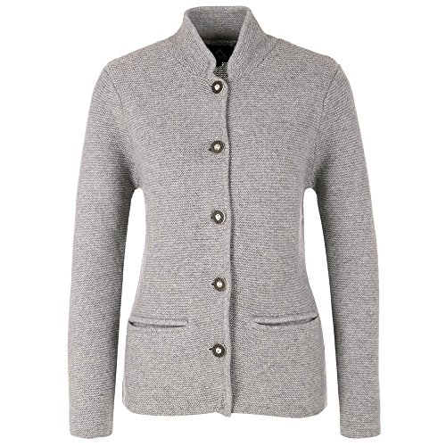 ALMBOCK Trachten Strickjacke Damen - Trachten Jacke Damen modern mit Knöpfen und Taschen - Trachtenjacke Oktoberfest in grau - Trachten Westen Gr. L
