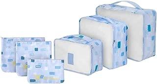 Kit 6 Necessaire Organizador Bolsa Mala Viagem E-bag Mochila Azul Claro Geometrico