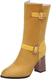 JOJONUNU Women Classic Autumn Shoes Block High Heels Half Boots
