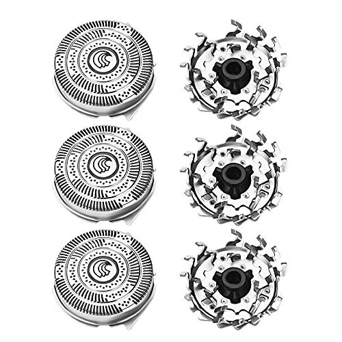 Set di 3 testine per rasoio elettrico da uomo, per Philips HQ9 HQ8140 8160 8170 9160 9170 9190 PT920 testine di ricambio per taglio, lame rotanti per uomo, una rasatura comoda…