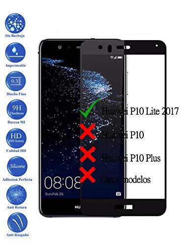 Todotumovil Protector de Pantalla Huawei P10 Lite Negro Completo 3D Cristal Templado Vidrio Curvo para movil