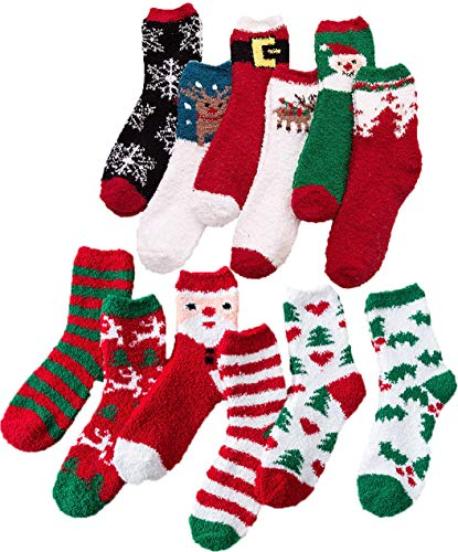 Christmas Holiday Fuzzy Socks for Women Girls Gifts Cute Fun Cozy Fluffy Winter Warm Slipper Xmas Socks (Womens:onesize 5-10, 12 Pairs in 12 partterns)