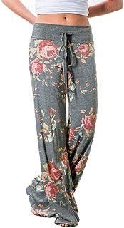 Sabarry YYW Women's Wide Leg Pants Casual Floral Loose Yoga Trousers Drawstring High Waist Workout Baggy Pajama Lounge Pan...
