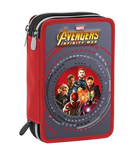 Astuccio 3 Zip Marvel Avengers Infinity War, Rosso Multicolore, Con materiale scolastico: 18 pennarelli e 18 pastelli Giotto, penna Tratto Cancellik...