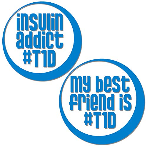 BriCals Vinyl Decals Type 1 Diabetes T1D Best Friends Diabetic Car & Truck Window Decal Stickers, 2 Pack, 3.5' Diameter, Made in USA