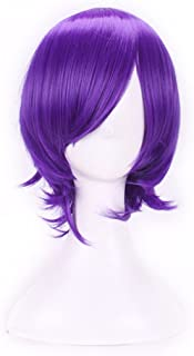 AneShe Men's Short Straight Layered Hair Anime Cosplay Costume Wig (Purple)