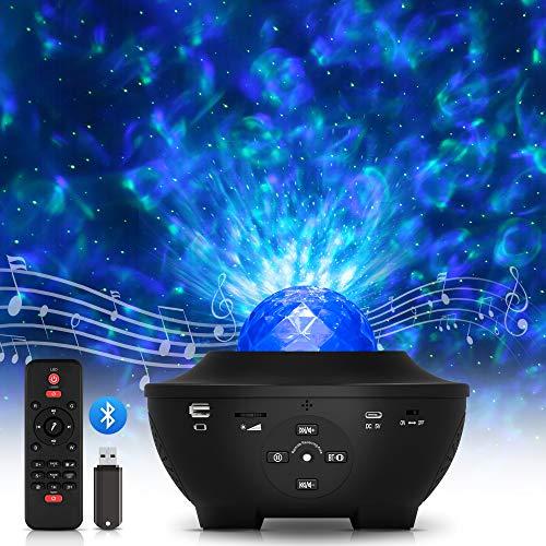 LED Sternenhimmel Projektor, Galaxy Light Kinder mit Fernbedienung/Bluetooth Lautsprecher, Starry Stern/Wasserwellen-Welleneffekt Freelastics Lichtprojektor Nachtlicht lampe für Zimmer Dekoration