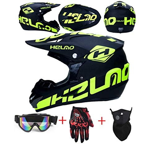 Downhill Helme Motocrosshelm, Schwarze Motorrad Crosshelme Rennrad helme Kinder City Helme Road Racing Sport/Geschenkbrillen Handschuhe Maske (Small)