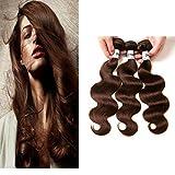 Ornate Hair Light Brown Bundles Human Hair Brazilian Body Wave Bundles 100% Unprocessed Virgin Remy Human Hair Weave Extensions 9A Grade 3 Bundles 100g/bundle #4 Light Brown Color(16 18 20inch)