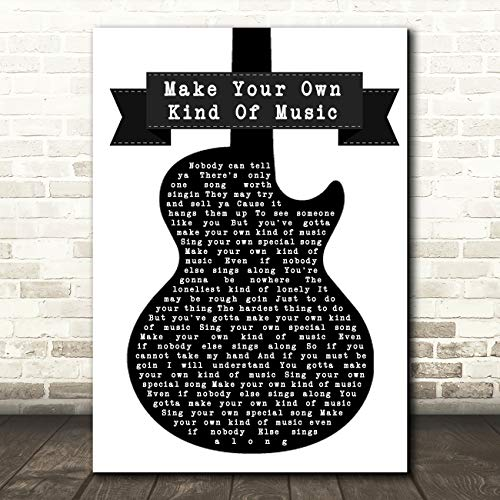 Maak je eigen soort muziek zwart wit gitaar lied lyrische muziek cadeau muur kunst poster print Medium A4