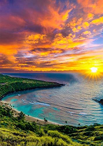 5D diamante pintura puesta de sol/amor playa DIY redondo completo diamante bordado conjunto paisaje decoración del hogar diamante pintura A7 40x50cm