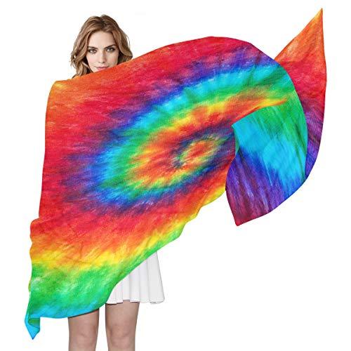 BIGJOKE Damen Seidenschal, bunt, Regenbogenfarben, Spiralbindung, leicht, lang, weich, Chiffon, Schal, Wickelschal, für Damen Mädchen und Herren