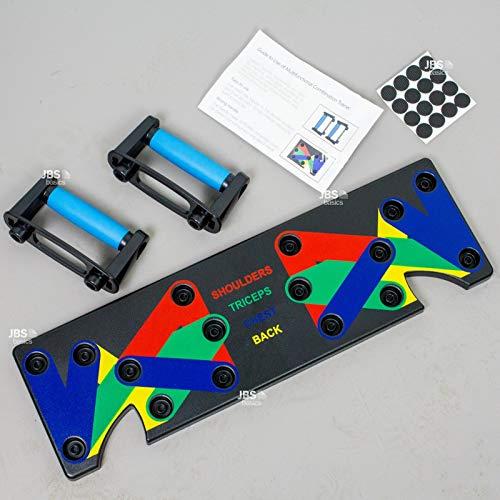 JBS basics [ Push Up Board Set für Liegestütze] Liegestützgriffe Multitrainer Liegestützbrett [ Board Griff Anleitung Anti-Rutsch-Aufkleber ] Heimtraining Muskelaufbau