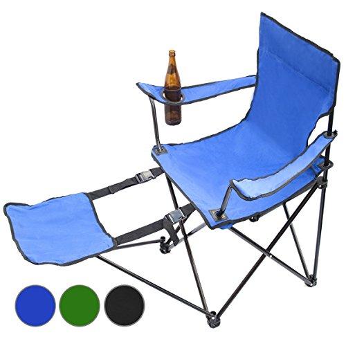 Angelstuhl Faltbarer Campingstuhl Klappstuhl Camping Faltstuhl Campinghocker für Ausflüge, Camping, Festivals, UVM (Mit Fußstütze, Blau)